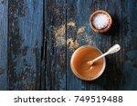 glass jar of homemade salted... | Shutterstock . vector #749519488