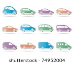 different types of cars icons   ... | Shutterstock .eps vector #74952004