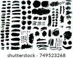 collection of black paint  ink... | Shutterstock .eps vector #749523268