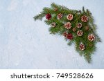 christmas fir tree branches... | Shutterstock . vector #749528626
