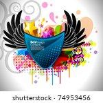 shiny vector bubbles for speech ... | Shutterstock .eps vector #74953456