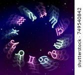 astrology zodiac signs wheel... | Shutterstock .eps vector #749540842