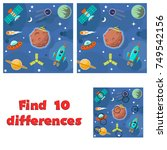 find 10 differences game for... | Shutterstock .eps vector #749542156