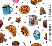 pattern sketch christmas sweets.... | Shutterstock .eps vector #749542672