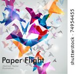paper flight. origami birds.... | Shutterstock .eps vector #74954455