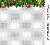 christmas border with balls | Shutterstock . vector #749549422