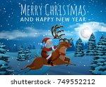 santa claus on deer riding on... | Shutterstock .eps vector #749552212