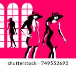 fashion concept. three female... | Shutterstock .eps vector #749552692