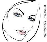 beauty girl face vector icon   Shutterstock .eps vector #74955808