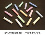 chalks in a variety of colors... | Shutterstock . vector #749559796