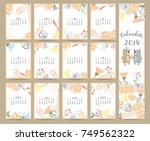 colorful cute monthly calendar... | Shutterstock .eps vector #749562322