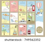 colorful cute monthly calendar...   Shutterstock .eps vector #749562352