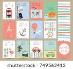 colorful cute monthly calendar... | Shutterstock .eps vector #749562412