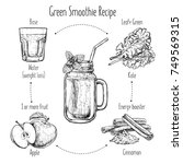 hand drawn recipe of green... | Shutterstock .eps vector #749569315