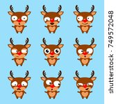 set of cute cartoon reindeer... | Shutterstock .eps vector #749572048