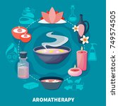 essential oils aromatherapy for ... | Shutterstock .eps vector #749574505