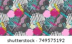 memphis seamless  pattern in... | Shutterstock .eps vector #749575192