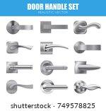 realistic door handle silver... | Shutterstock .eps vector #749578825