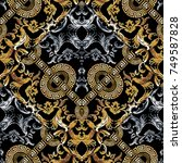 baroque seamless pattern. black ... | Shutterstock .eps vector #749587828