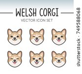 cute welsh corgi pembroke dog... | Shutterstock .eps vector #749588068