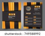 black and orange flyer template ... | Shutterstock .eps vector #749588992
