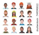 set of man avatars. sixteen... | Shutterstock .eps vector #749590012