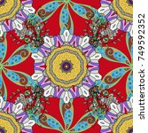 vector mandala. colored round... | Shutterstock .eps vector #749592352