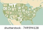 poster map of united states of... | Shutterstock .eps vector #749594128