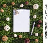 open notepad  white pen  wicker ... | Shutterstock . vector #749594368