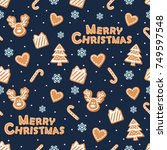 christmas seamless pattern.... | Shutterstock .eps vector #749597548
