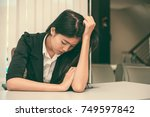 close up sad woman in the... | Shutterstock . vector #749597842