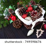 christmas background with... | Shutterstock . vector #749598676