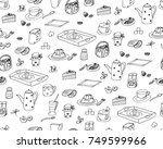 hand drawn vector wallpaper of... | Shutterstock .eps vector #749599966