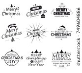 merry christmas. happy new year.... | Shutterstock .eps vector #749604886