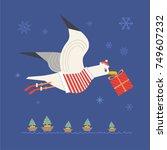 cute sea gull in santa dress.... | Shutterstock .eps vector #749607232