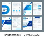 blue brochures annual reports... | Shutterstock .eps vector #749610622