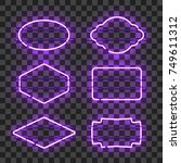 set of realistic glowing purple ... | Shutterstock .eps vector #749611312