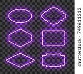 set of realistic glowing purple ...   Shutterstock .eps vector #749611312