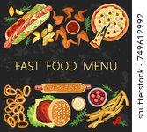 fast food menu restaurant... | Shutterstock . vector #749612992