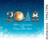 2018 new year background with... | Shutterstock .eps vector #749617396