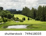 green grass surrounded by ponds ... | Shutterstock . vector #749618035