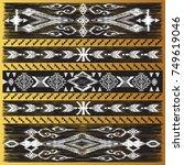 golden oriental decor in kilim... | Shutterstock .eps vector #749619046
