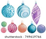 watercolor christmas balls   Shutterstock . vector #749619766