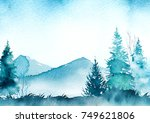 watercolo winter landscape   Shutterstock . vector #749621806