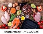 healthy food cooking. meat ... | Shutterstock . vector #749622925