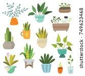 hand drawn plants set | Shutterstock .eps vector #749623468