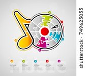 five options music timeline... | Shutterstock .eps vector #749625055