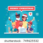 happy workers are celebrating... | Shutterstock .eps vector #749625532