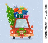 chrismas car with gifts  tree... | Shutterstock .eps vector #749630488