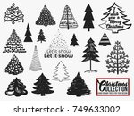 christmas tree icon set. simple ... | Shutterstock .eps vector #749633002